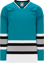 Load image into Gallery viewer, SAN JOSE TEAL Sleeve Stripes Pro Blank Hockey Jerseys