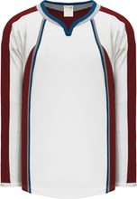 Load image into Gallery viewer, 2011 COLORADO WHITE Keyhole Neck With Halo Pro Blank Hockey Jerseys