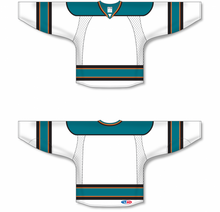 Load image into Gallery viewer, 2009 SAN JOSE WHITE Double Elbows Pro Blank Hockey Jerseys