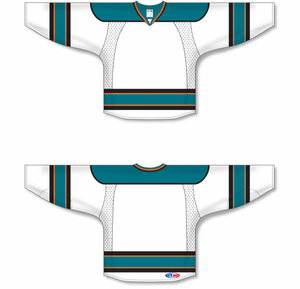2009 SAN JOSE WHITE Double Elbows Pro Blank Hockey Jerseys