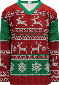UGLY CHRISTMAS SWEATER RED Pro Blank Hockey Jerseys