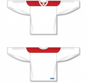 White, Red League Blank Hockey Jerseys