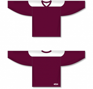 Maroon, White League Blank Hockey Jerseys