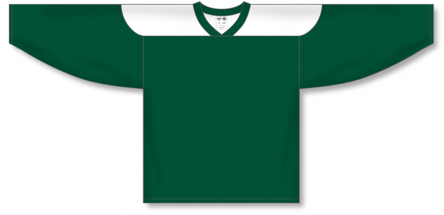 Dark Green, White League Hockey Jerseys