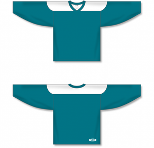 Pacific Teal, White League Blank Hockey Jerseys