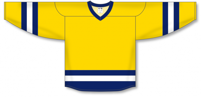 Maize, Navy, White League Blank Hockey Jerseys