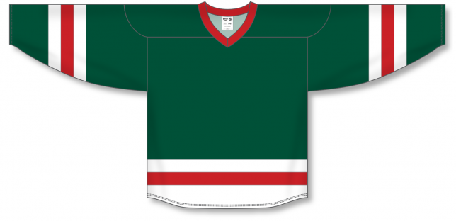 Dark Green, White, Red League Blank Hockey Jerseys