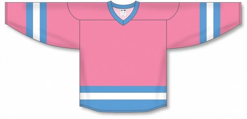 Pink, Sky, White League Blank Hockey Jerseys
