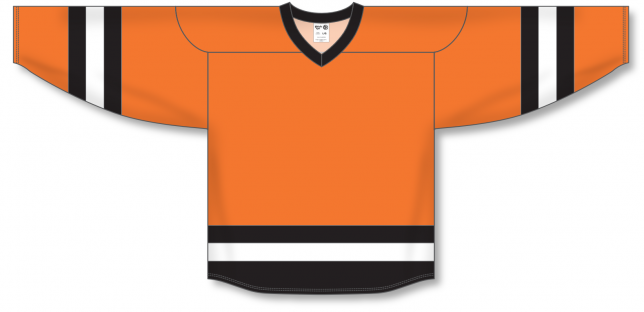 Orange, Black, White League Blank Hockey Jerseys