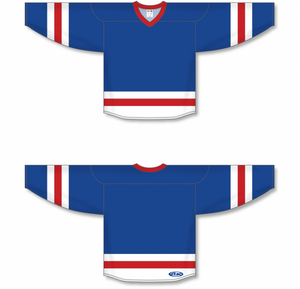 Royal, White, Red League Blank Hockey Jerseys