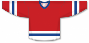 Red, White, Royal League Blank Hockey Jerseys