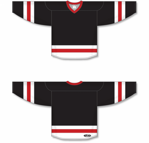 Black, White, Red League Blank Hockey Jerseys