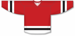 Red, White, Black League Blank Hockey Jerseys
