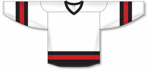 White, Black, Red League Blank Hockey Jerseys