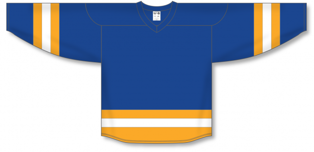 Royal, Gold, White League Blank Hockey Jerseys
