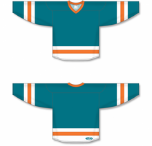 Load image into Gallery viewer, Pacific Teal, White, Orange League Blank Hockey Jerseys