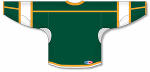 Dark Green, White, Gold Select Blank Hockey Jerseys