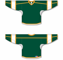 Load image into Gallery viewer, Dark Green, White, Gold Select Blank Hockey Jerseys