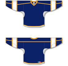 Load image into Gallery viewer, Navy, White, Gold Durastar Mesh Select Blank Hockey Jerseys
