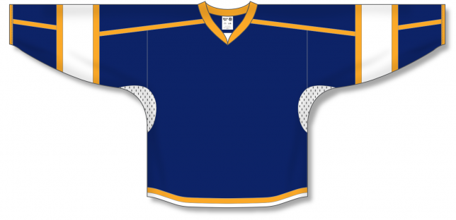 Navy, White, Gold Durastar Mesh Select Blank Hockey Jerseys