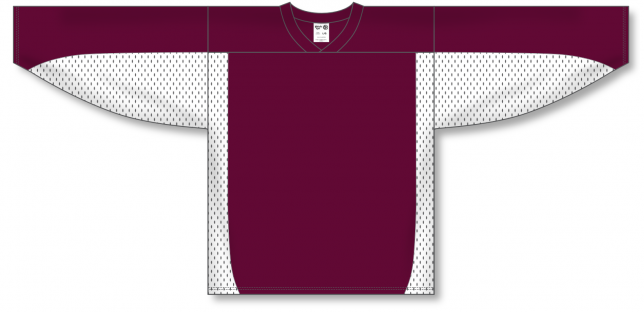Maroon, White Durastar Mesh League Blank Hockey Jerseys