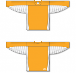 Gold, White Durastar Mesh League Blank Hockey Jerseys