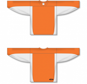 Orange, White League Blank Hockey Jerseys