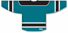 Load image into Gallery viewer, Teal, Black, White Select Blank Hockey Jerseys