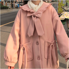 Load image into Gallery viewer, Pink Ruffled Collar Coat