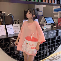 Korean Strawberry Milk T-Shirt-Mochipan