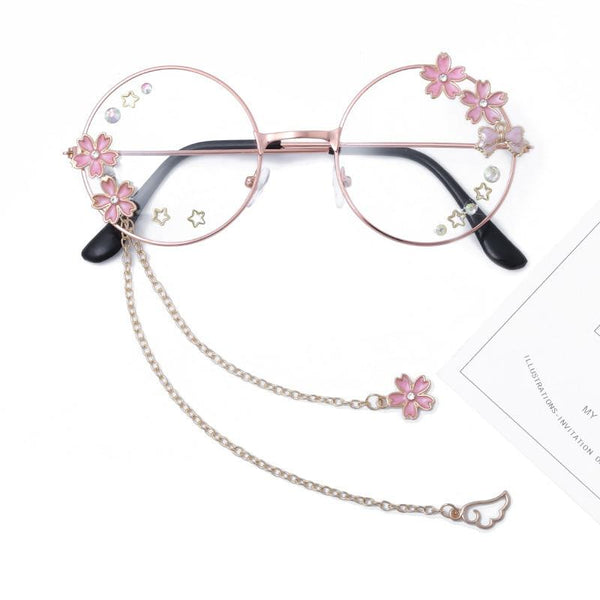 Cute Sakura Pendant Glasses