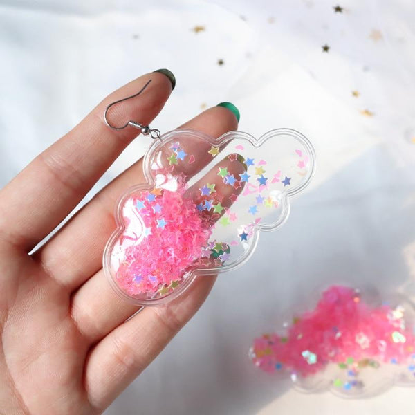 Glitter Cloud Earrings