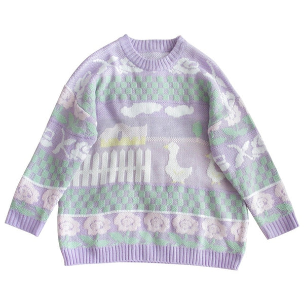 Pastel Duck Christmas Sweater-Mochipan