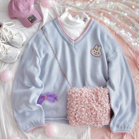 Pastel Blue Sweater-Mochipan