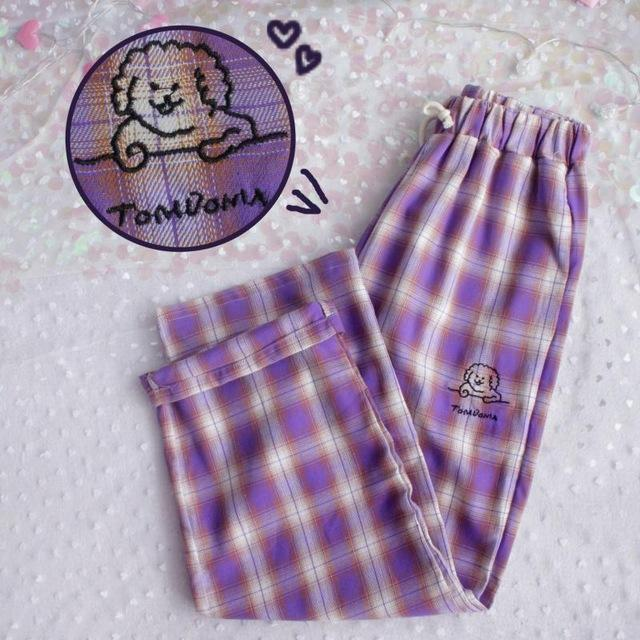 Plaid High Waisted Pants-Mochipan