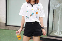 Cute Printed Collar Tee-Mochipan