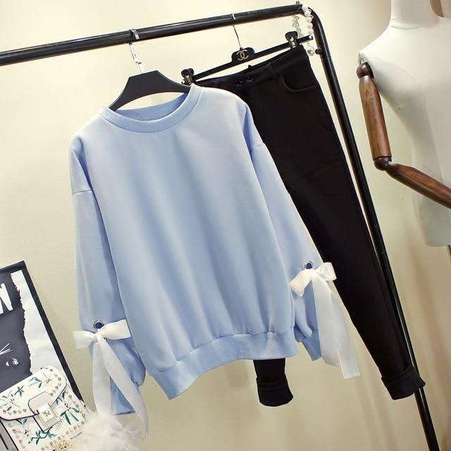 Bow-Tie Sleeve Sweater-Mochipan