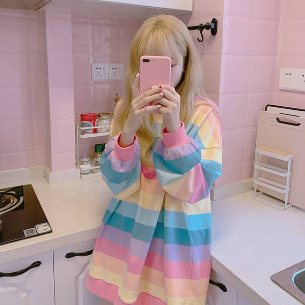 Rainbow Striped Shirt - Mochipan