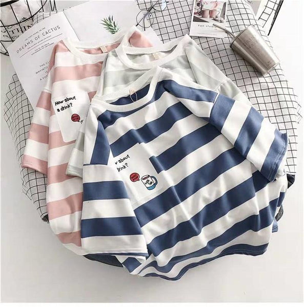 Kawaii Thick Stripe T-Shirt - Mochipan