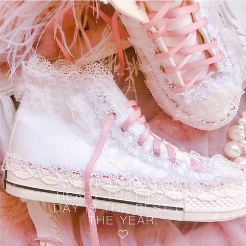 Sweet Lace Canvas Shoes-Mochipan