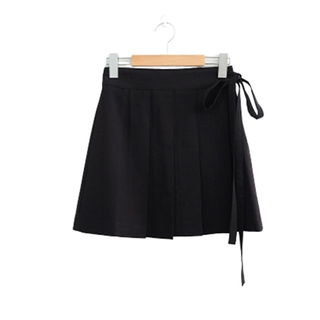 Waist-tie Pleated Skirt