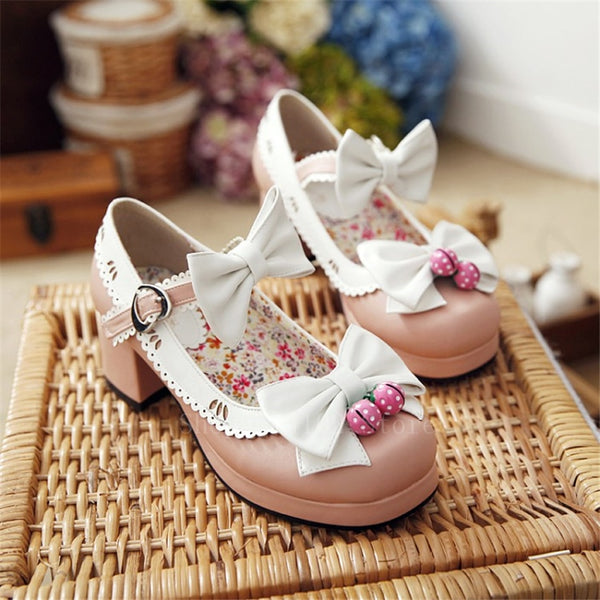 Delicate Strawberry Bow Shoes