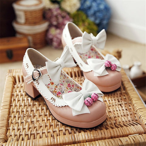 Delicate Strawberry Bow Shoes-Mochipan