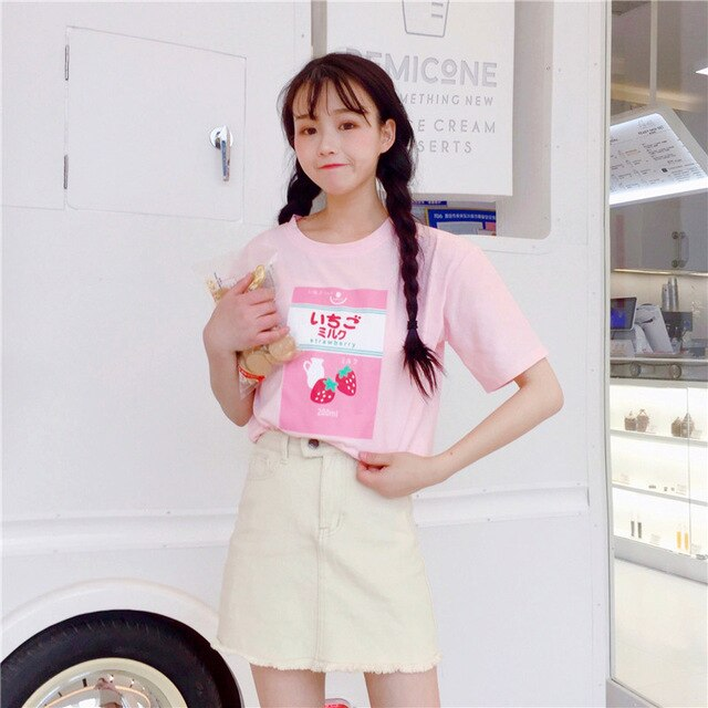 Strawberry Milk Carton T-Shirt-Mochipan