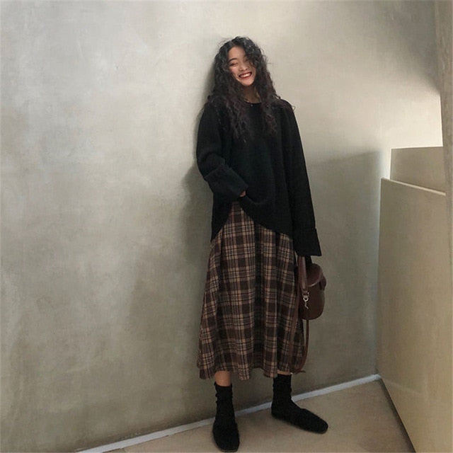Casual Plaid Long Skirt