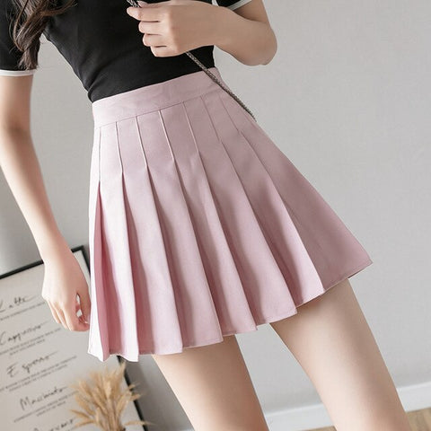 High Waist Pleated Skirt-Mochipan