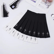 Load image into Gallery viewer, Cross Print Pleated Skirt-Mochipan