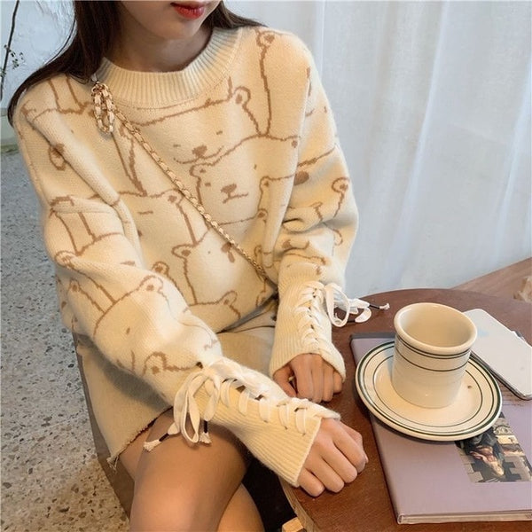 Kawaii Lace Up Sleeve Sweater-Mochipan