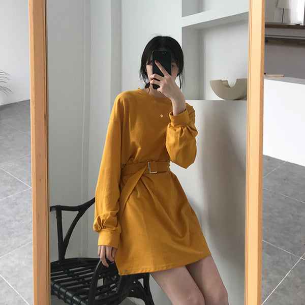 Pullover Dress with Belt-Mochipan