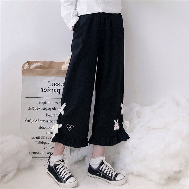 Sweet Embroidered Ruffled Pants